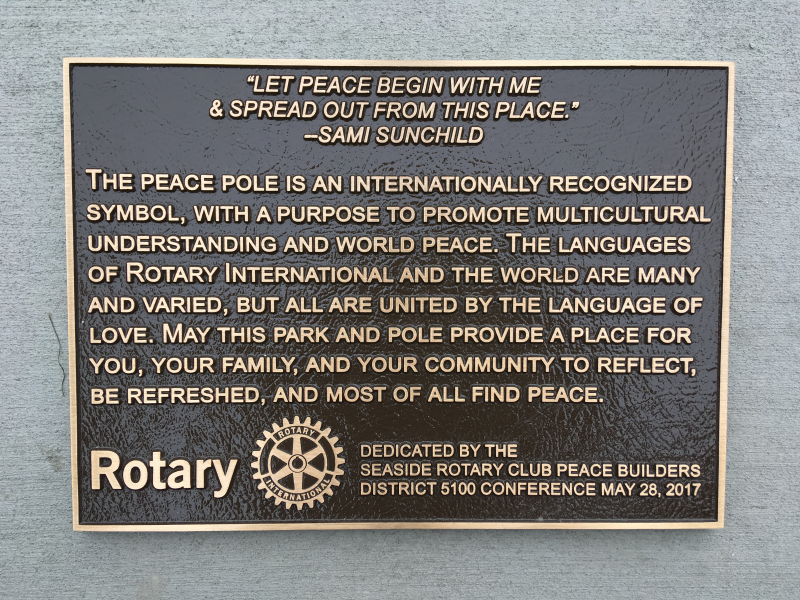 Peace Pole Dedication Plaaque